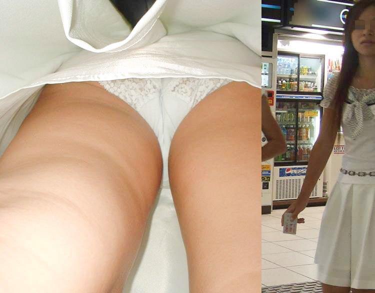 【逆さ撮り】レース素材パンティを穿いた素人娘のスカート内を接写撮りw 20枚
